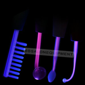 4 Piece High Frequency Electrode For Acne Skin Care Violet Orange Gas Glass Tube