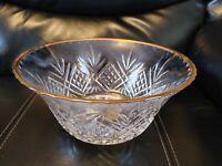 """CRISTAL DE FLANDRE~SALZBURG France 24% Genuine Lead Crystal 9""""×4""""Gold Trim Bowl"""