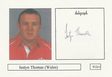 Iestyn Thomas WALES RUGBY PLAYER SIGNED PHOTO CARD ORIGINAL AUTOGRAPH