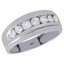 10K White Gold Channel Set Diamond Mens Wedding Band Engagement Ring 0.75 CT.