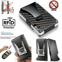 Carbon Fiber RFID Blocking Slim Money Clip Card Holder Metal Men's Wallet Gift