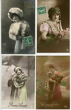CARTE POSTALE / POSTCARD / FANTAISIE /  LOT DE 4 CARTES BONNE ANNEE