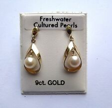 9ct Gold Freshwater pearl drop stud dangle earrings