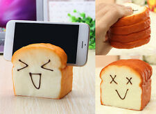 Rare Squishies Happy Face Mobile Phone Seat Jumbo Squishy Bread Loaf Toast