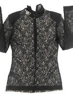 H&M Women's Size Small Navy Blue Lace Half Zip Long Sleeve Top Shirt