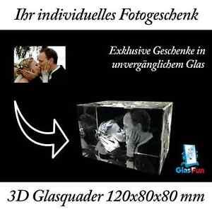 3D Glas Quader Kristall Geschenk Foto Graviert Glasfun 120x80x80 mm