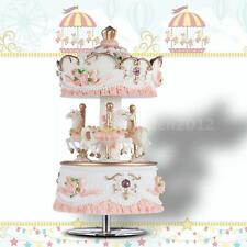 "Laxury Windup 3-horse Carousel Music Box Gift Melody ""Castle in the "" C9J0"