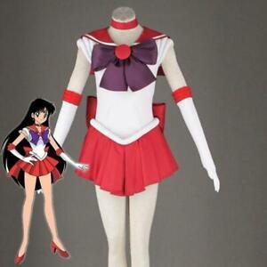 2019 Sailor Moon Sailor Mars Cosplay Costume Red Uniform Dress Satin Handmade US