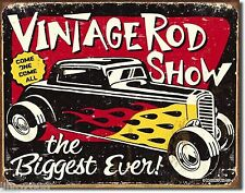 VINTAGE ROD SHOW /HOT RODS; ANTIQUE-STYLE METAL WALL SIGN 40X30cm USA FLAMES