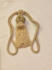 Single Vintage Cream/Off-White Rope Drapery Curtain Tiebacks W/Tassels