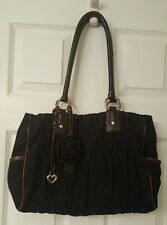 BRIGHTON Camille Black Pleated Satchel Handbag Bag - EUC!