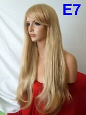 Blonde Strawberry Straight real natural Long Wavy Womens LADY Adult Full WIG E7