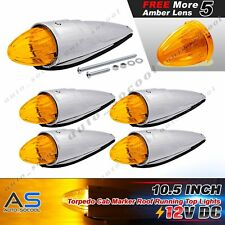 5x 17 LED Amber Torpedo Cab Marker Clearance Roof Running Top Light 12V Kenworth