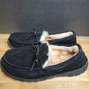 Unbranded Mens Black Solid Round Toe Low Top Slip On Casual Moccasin Shoes Sz 14