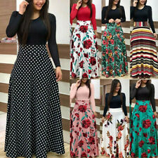 Women Long Sleeve Boho Floral Maxi Dress Casual Party Cocktail Splice Dress