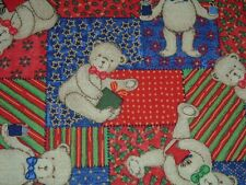 Vtg 80s Teddy Bears Christmas Package Quilt Patch Sew Fabric 1Ydx42 RARE #ff206