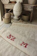 Vintage feedsack GRAIN SACK Antique feedsacks  SZM monogram in red old bag