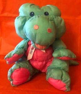 Vintage Fisher Price Jungle Junior ALLIGATOR Puffalump Plush Toy Pink Green 4151