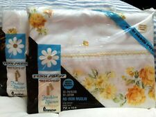 Vintage Penn Prest Yellow Rose Twin Fitted and Flat Sheets - Unopened