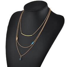 Gypsy Hamsa Hand Fatima Evil Eye Bead Turquoise Pendant Charm Chain Necklace