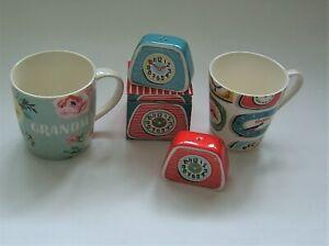 CATH KIDSTON, CLOCKS BOXED SALT & PEPPER SET + CUP, AND GRANDMA FLORAL MUG.