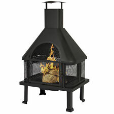 BCP Firehouse Fire Pit With Chimney Outdoor Backyard Deck Fireplace