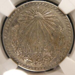1921 Mexico 1 Peso NGC XF 45 .720 Silver KM 455 (522)