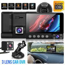 4'' HD 1080P 3 Lens 170° Car DVR Dash Cam Vehicle Video Recorder Rearview Camera