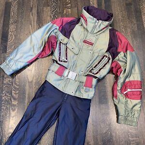 Womens 10 SPYDER One piece Apres SKI SUIT Snow Bib RETRO Snowsuit Iridescent VTG