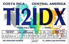 1992 QSL Ham Radio Card TI2IDX Costa Rica Central America World Map
