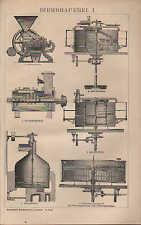 Lithografie 1901: BIERBRAUEREI. I/II. Malz Quetsche Maisch-Apparat-Bottich-Kesse