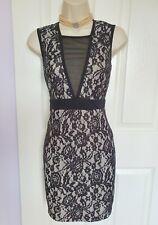 Sexy deep V neck pencil lace dress by Boohoo Size 10 UK 38 EU
