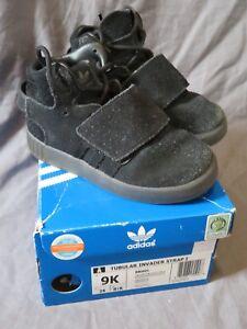 Toddler Boy's Adidas Tubular Invader Strap I Black Suede Athletic Shoes ~ Size 9