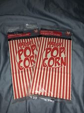 Popcorn Bags 5.25 X 3.25 10 Inch Retro Red White Stripe 10 Bag Pack (Lot Of 2)