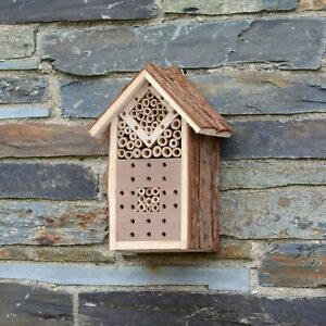 Small Wooden Insect Bee House Natural Wood Bug Hotel Shelter Garden Nest Box