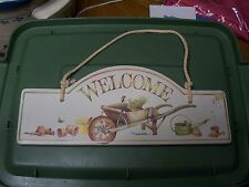 "Hallmark Marjolein Bastin Porcelain WELCOME Hanging Sign Garden Wall Plaque 11"""
