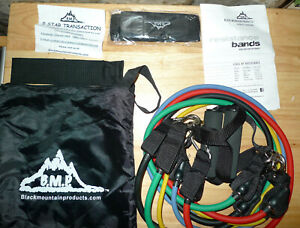 Black Mountain Products Resistance Band Set with Door Anchor & Ankle Strap