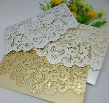 LASER CUT WEDDING INVITATIONS PEARL CARD & ENVELOPE EMBOSSED POCKET FOLD EM