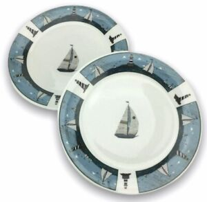 2 Oneida Casual Settings Sailboat Salad Plates Warren Kimble Stoneware 7 1/4