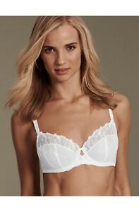 32D M&S ADORED OPHELIA EMBROIDERED NON PADDED FULL CUP BRA WHITE - NEW - RRP £20