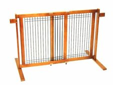 Crown Pet Freestanding Wood/Wire Pet Gate with Security Arms, Large Span