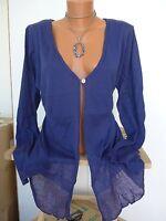 Sheego cardigan veste tricotée 40/42 - 56/58 souple tombant Bleu (792) NEUF
