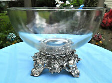 PITMAN DREITZER LANCASTER COLONY ORNATE PUNCH BOWL STAND & CLEAR GLASS BOWL