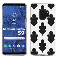 Thin Gel Design Phone Case Cover Samsung Galaxy S9,Leaf 2 Leaf Black White Print