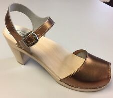 Maguba Swedish Handmade Clogs-Bologna Natural High- Gold Size 39