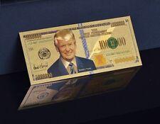 1 MILLION DOLLAR DONALD TRUMP BANKNOTE 24K GOLD SCHEIN SOUVENIR GLÜCKSBRINGER