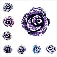 Vintage rétro style ancien rose en argent bague ajustable multiple couleurs