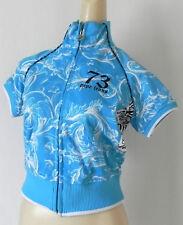 Pepe jeans Short Sleeve Jacket Turquoise Blue Full Zip Pockets High Neck Size S