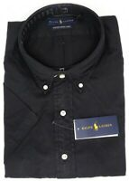 NEW $98 Polo Ralph Lauren Black Short Sleeve Mens Feather Weight Twill Shirt NWT