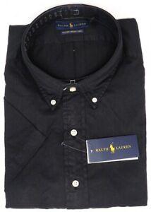 NEW $98 Polo Ralph Lauren Black Short Sleeve Mens Feather Weight Twill Shirt NWT